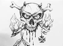 Jak narysować płonącą czaszkę z rogami