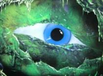 Jak malować sprejami - zielone oko monstera