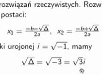 Jak rozwiązać równanie kwadratowe z ujemną deltą