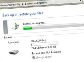 Jak stworzyć kopię zapasową w Windows 7