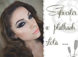 Jak zrobić makijaż sylwestrowy - smoky eyes z płatkami złota