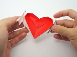 Jak złożyć serce ze skrzydełkami z jednej karki papieru