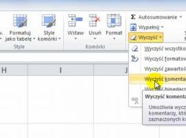 Jak korzystać z Excel 2010 - Menu wyczyść