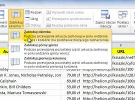 Jak korzystać z Excel 2010 - Blokowanie okienek