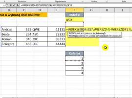 Jak pobierać wartości z komórki oddalonej o wybraną ilość kolumn