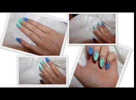 Jak zrobić niebiesko miętowe paznokcie z cegiełkami