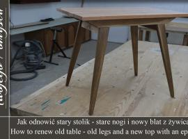 Jak odnowić stary stolik - stare nogi i nowy blat z żywicą Ciech - Meble Twojego Pomysłu