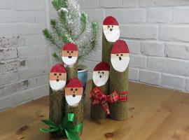 Jak zrobić mikołaje na drewnianych kołkach - dekoracje świąteczne
